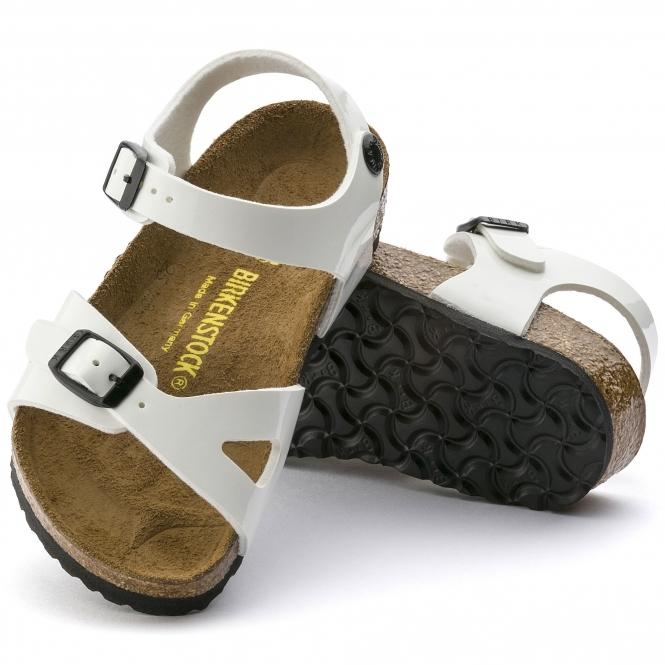 b629c339d7e3 Birkenstock RIO 931133 Kids Two Strap Sandals White Patent