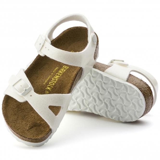 fc0318f09fe4 Birkenstock RIO GALAXY 831693 Kids Two Strap Sandals White
