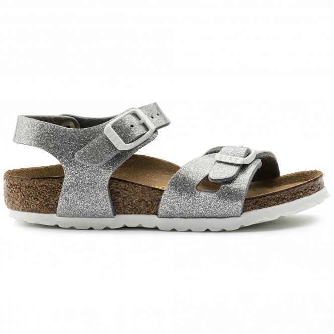 c13d71483abf Birkenstock RIO GALAXY 831783 (Nar) Kids Birko-Flor Two Strap Sandals Silver
