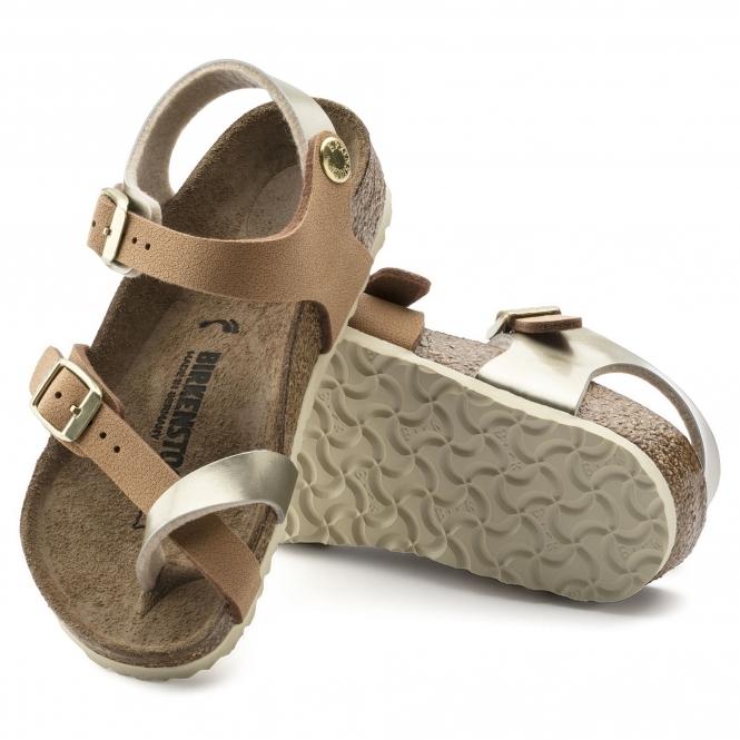 89062306700f Birkenstock TAORMINA 1009496 Kids Cross Strap Sandals Gold Brown ...