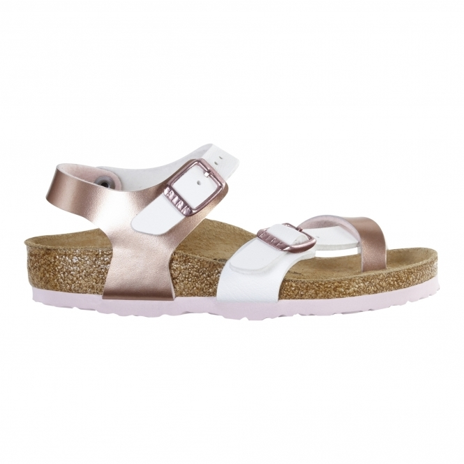 Birkenstock TAORMINA 1009498 Kids Cross Strap Sandals Rose White ... 16e2c804e89