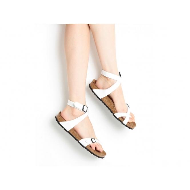 c53cb6524c1 Birkenstock YARA 13931 (Reg) Ladies Birko-Flor Cross Strap Sandals Patent  White