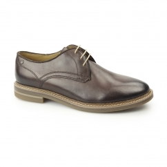 BLAKE Mens Washed Leather Plain Derby Shoes Brown