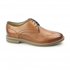 BLAKE Mens Washed Leather Plain Derby Shoes Tan