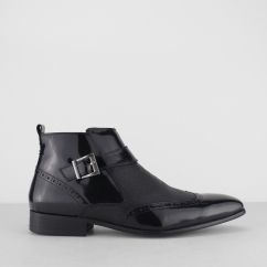 BROSNAN Mens Patent/Leather Zip Ankle Boots Black