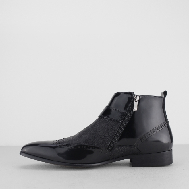 bb8a7b9fcf8 BROSNAN Mens Patent/Leather Zip Ankle Boots Black