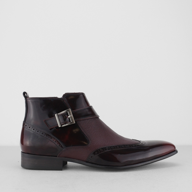 BROSNAN Mens Patent/Leather Zip Ankle Boots Burgundy