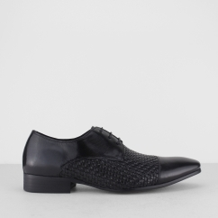 ERPINGHAM Mens Leather Woven Lace Up Derby Shoes Black