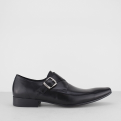 Blakeseys GOWER Mens Leather Monkstrap Chisel Toe Shoes Black | Shuperb