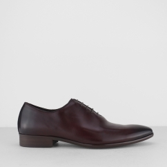 MASHAM Mens Leather Plain Toe Oxford Shoes Burgundy