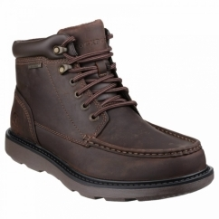 BOAT BUILDER BOOT MOC TOE Mens Waterproof Leather Boots Dark Brown