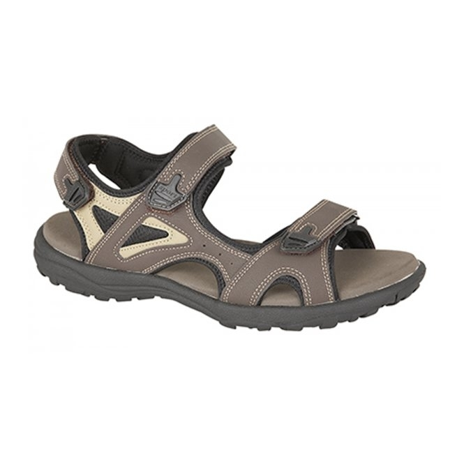 PDQ BOB Mens Faux Nubuck Velcro Sports Sandal Brown