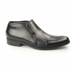 BOND Mens Leather Slip On Casual Boots Black