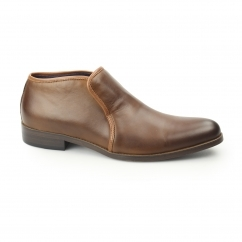BOND Mens Leather Slip On Casual Boots Tan