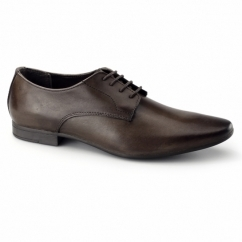 BORDIN Mens Leather Plain Pointed Shoes Brown