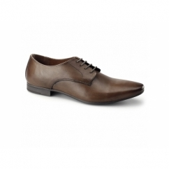 BORDIN Mens Leather Plain Pointed Shoes Cognac