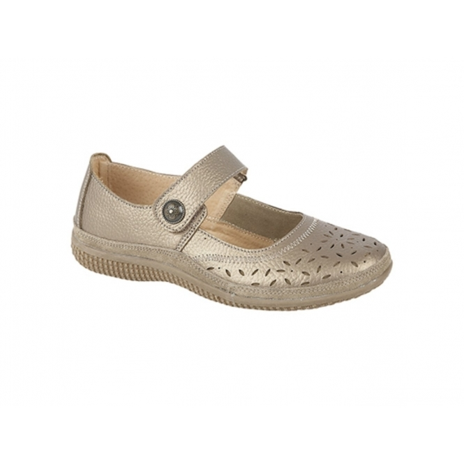 Boulevard ALEX Ladies Extra Wide EEE Leather Velcro Mary Jane Shoes Bronze