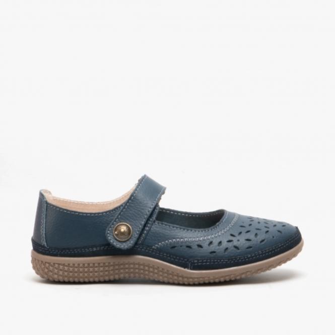 EEE Leather Velcro Mary Janes Navy