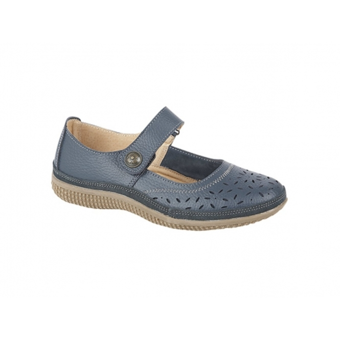 Boulevard ALEX Ladies Extra Wide EEE Leather Velcro Mary Jane Shoes Navy