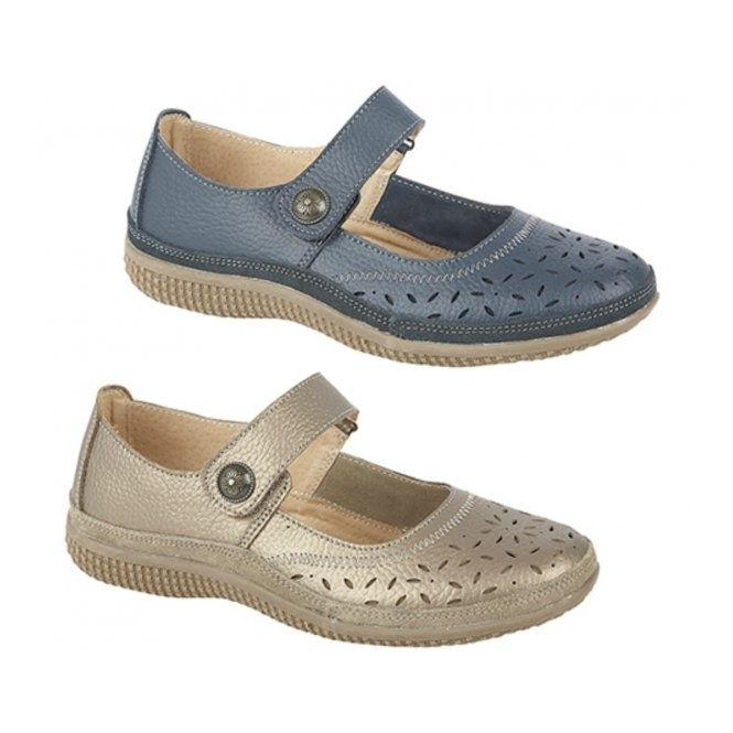 cd5b11068b4c Boulevard ALEX Ladies Extra Wide EEE Leather Velcro Mary Jane Shoes Navy