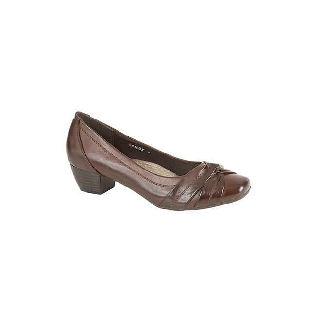 ALISA Ladies Low Block Heel Court Shoes Brown