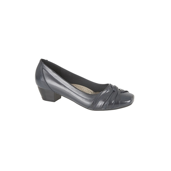 Boulevard ALISA Ladies Low Block Heel Court Shoes Navy