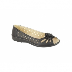 Boulevard DAYNA Ladies Comfy Peep Toe Diamante Flats Black