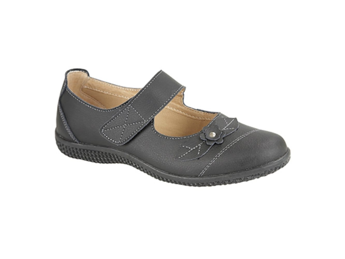 Boulevard femme confortable cuir touch attachez eee wide fit mary jane chaussures noir