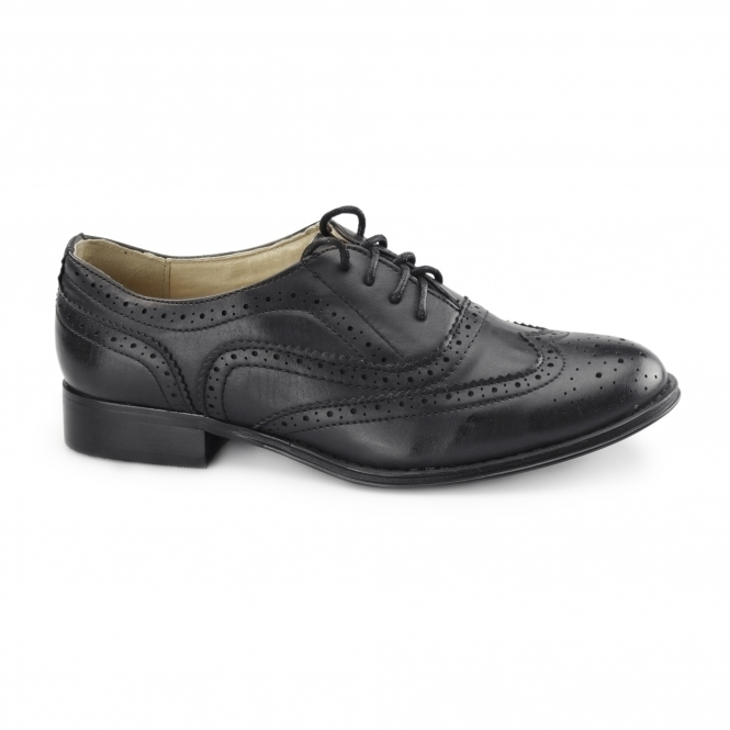 Boulevard EVA Ladies Flat Brogue Shoes Black