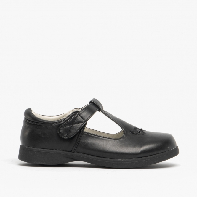 T-Bar Touch Fasten School Shoes Black