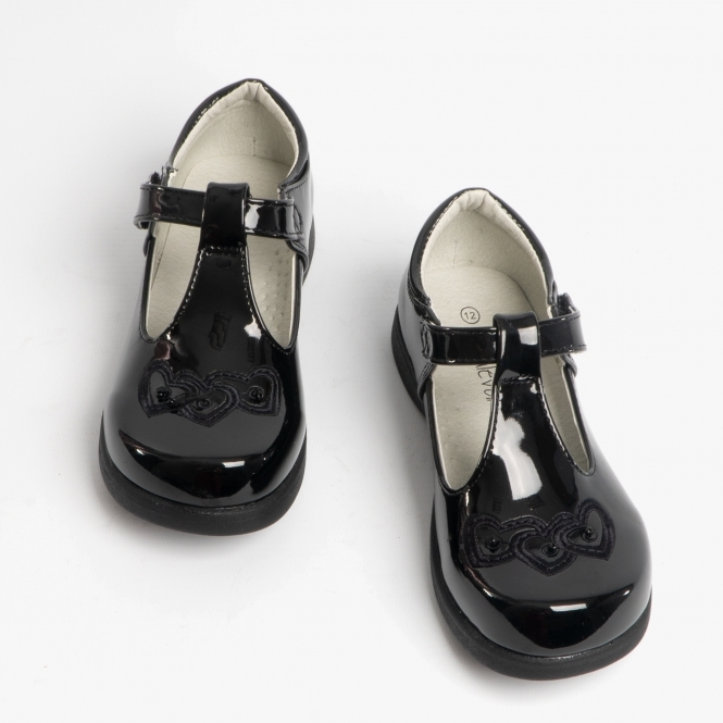 T-Bar Touch Fasten Shoes Black Patent