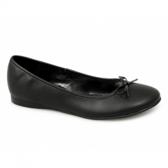 GLORIA Ladies Ballerina Flat Shoes Black