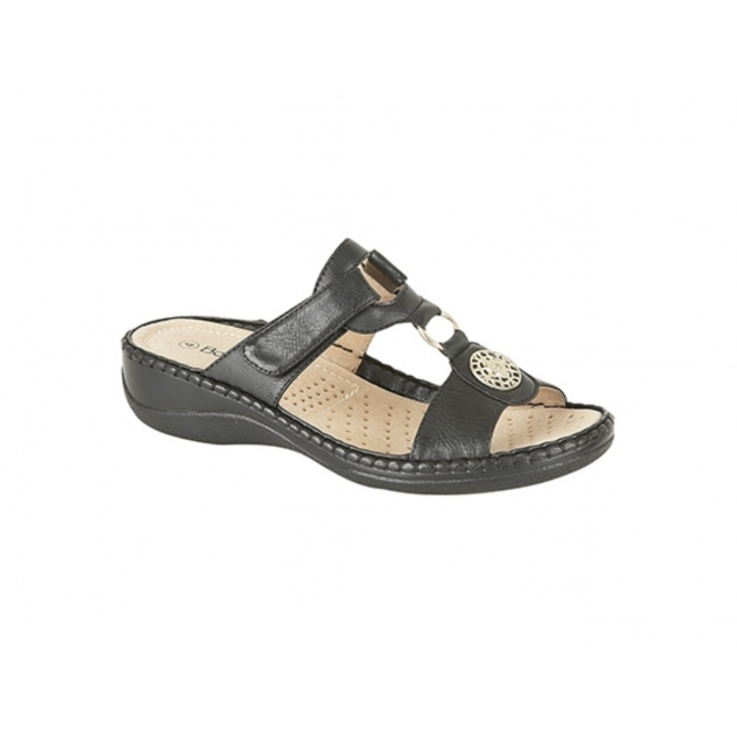 Boulevard MICHELLE Ladies Faux Leather Velcro Mule Sandals Black