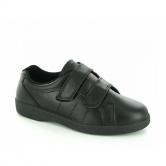 NAPOLI Ladies Velcro Wide E Fit Leather Shoes Black