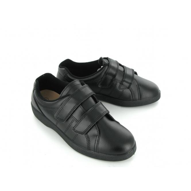915c920ec3f Boulevard NAPOLI Ladies Velcro Wide E Fit Leather Shoes Black