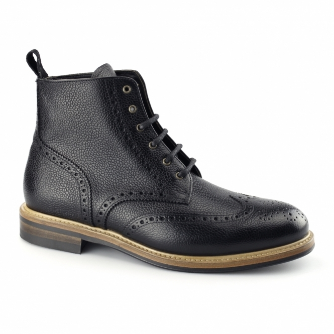 John White BOURTON Mens Leather Brogue Derby Boots Black