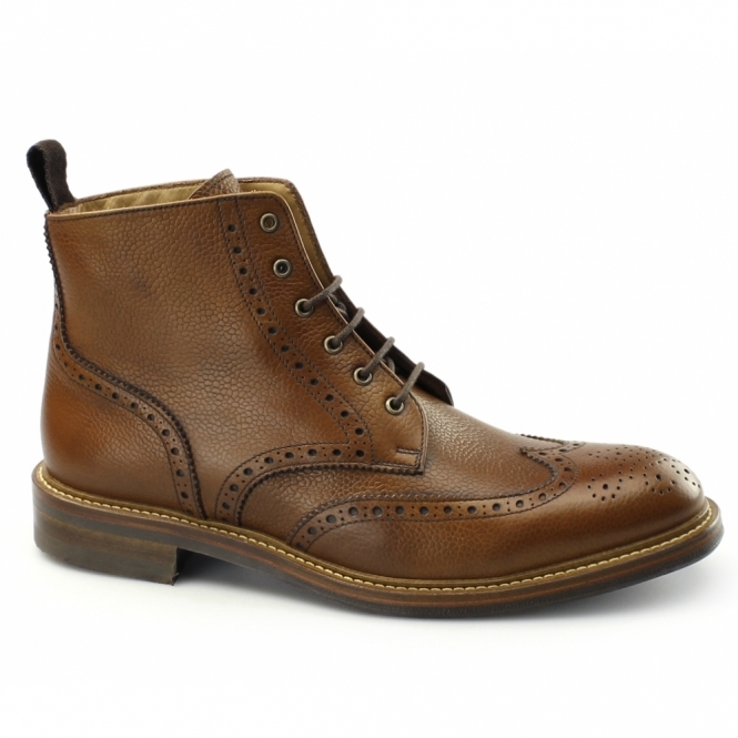 John White BOURTON Mens Leather Brogue Derby Boots Tan