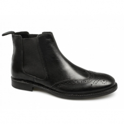 BOYNE Mens Leather Brogue Chelsea Boots Black