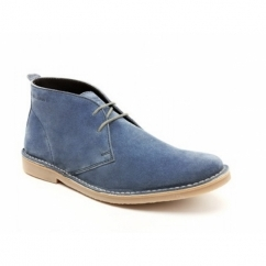 Base London BRANCH Mens Suede Desert Boots Denim Blue
