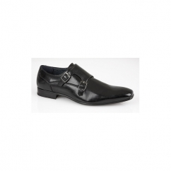 BRANDEN Mens Twin Buckle Monk Shoes Black