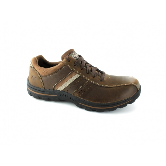 Skechers BRAVER ALFANO Mens Oxford Lace Up Shoes Dark Brown