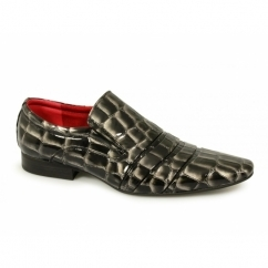BRENDON Mens Reptile Skin Slip On Shiny Shoes Black