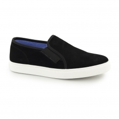 Front BRENNER Mens Suede Slip On Trainers Black