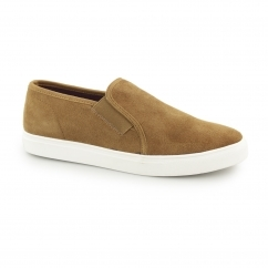 Front BRENNER Mens Suede Slip On Trainers Tan