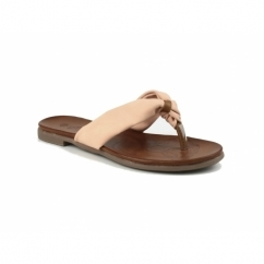 BRENTA Ladies Faux Leather Toe Post Sandals Coral