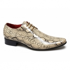 BRENZONE Mens Faux Snakeskin Lace-Up Shoes Beige