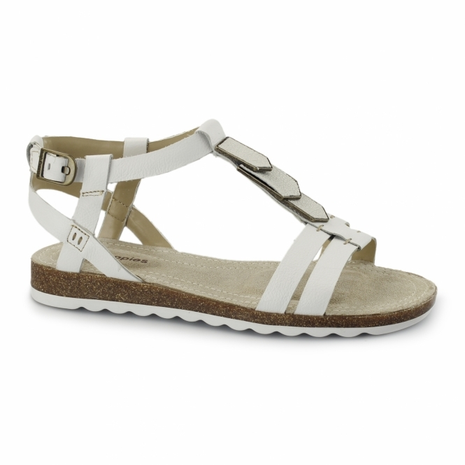 Hush Puppies BRETTA JADE Ladies Flat Sandals White