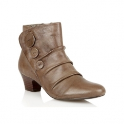 BRISK Ladies Leather Button Detail Ankle Boots Khaki