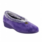 BROADWAY Ladies Faux Fur Wedge Slippers Lilac