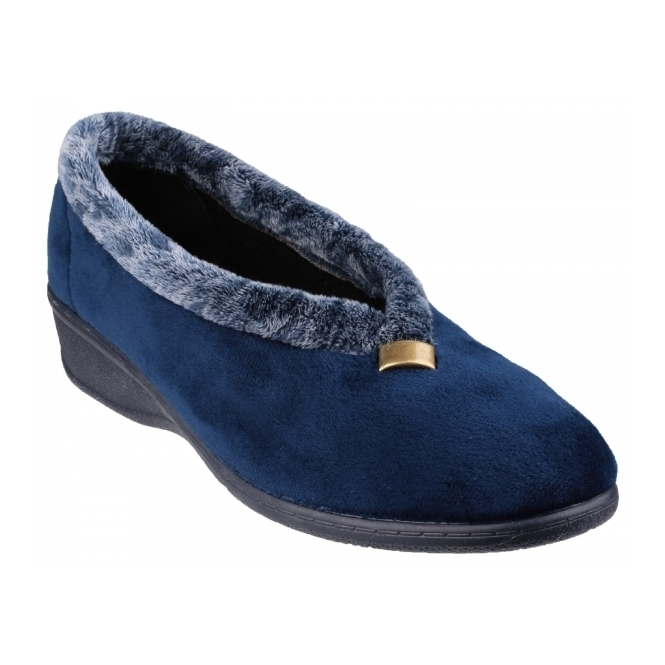 Cotswold BROADWAY Ladies Faux Fur Wedge Slippers Navy